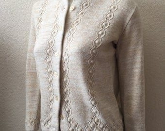 Vintage Women's 80's Kenneth Too, Cardigan Sweater, Oatmeal, Button Up (S)