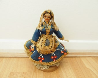 Exotic Vintage Doll In Embroidered Dress Decorative Home Decor Mounted Doll Figurine