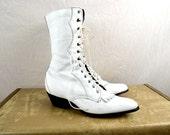 Vintage Laredo White Leather Roper Fringe Lace Up Boots - Women's Size 7 1/2