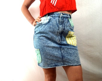 Vintage 80s Acid Wash Denim Skirt