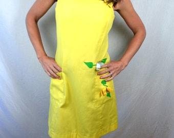 Super Cute Vintage 1960s 70s Yellow Flower Applique Dress - Lori Till