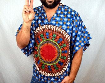Vintage 70s 80s Ethnic Boho Batik Dashiki Caftan Shirt