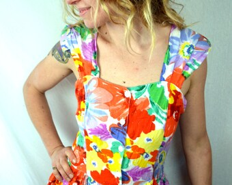Vintage Floral 80s Rayon Strappy Summer Dress