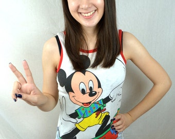 Vintage 80s Mickey Mouse Surfer Summer Tank Top - XS