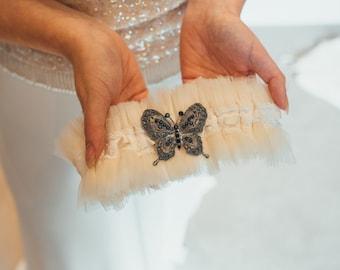 Martha - Ivory Silk Tulle Garter, Ivory Garter, Tulle Garter, Personalised Garter, Silk Garter, Silver Sixpence Garter, Wedding Garter