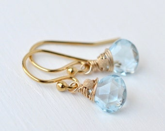 Sky Blue Topaz Earrings / Gold Blue Topaz / Small Gemstone Dangle Earrings / Wire Wrapped Briolette / Gold Fill French Wires
