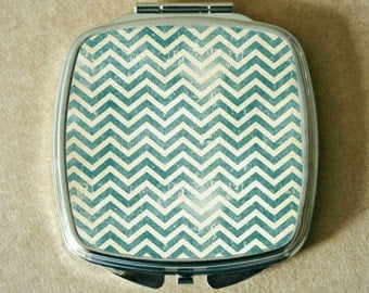 COMPACT MIRROR with TEAL Sublimated Grunge Chevron, Silver Tone Metal, Double Mirrors, Lightweight, Can Be Customized, Make Up Touch Ups