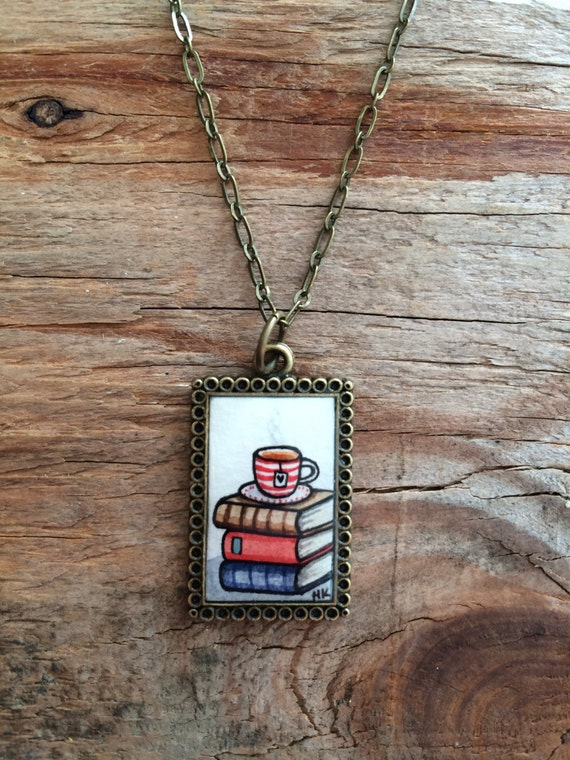 Hand Painted Necklace - Old Books and a Cup of Tea Original Watercolor Hand Painted Pendant Necklace - Book Necklace, Valentines Day Gift