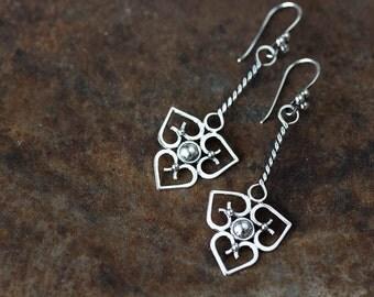 Unique statement earrings, Long silver earrings, long dangle earrings, sterling silver heart earrings, metalwork earrings