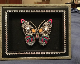 Vintage Jewelry Collage Butterfly Wall Decor , Butterfly Jewelry Assemblage , Jewelled Butterfly