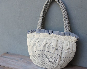 Pleated Doily Bag, Mori Girl Lace Purse, White and Light Blue Striped Purse