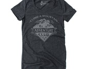 Adventure Club Graphic Tee - Women's Tri-Blend Black T-Shirt, Hiking Graphic Tee, Outdoor Gifts