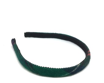 Skinny Plaid Headband - School Uniform Plaid in Hunter Green, Navy, Red, Black and Red - Preppy Plaid - Blair Waldorf Headband for School