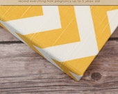 Baby Book (Pregnancy - 5 years) - Yellow and White Chevron  (136 journaling pages & personalization included)