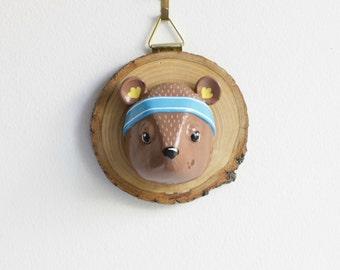 Faux Taxidermy Bear Head - wall decor wood slice, wall art, bear sculpture, childrens room decor, funny whimsical woodland animal art