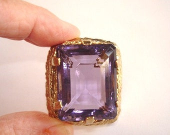 Signed Vogue Amethyst Glass Stone  Repousse Gold Tone Frame