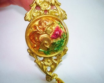 Lady Smelling Flowers Green Crystal Pendant Gold Tone Pendant