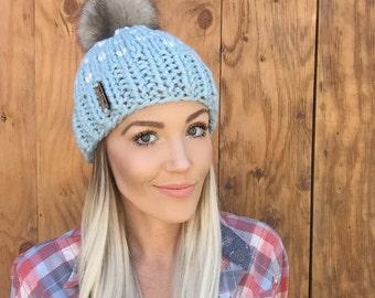 Glacier Blue Fair Isle Faux Fur Pom Pom Wool Hat Hair Fisherman Cream Heart Cap Earwarmer Accessory Knit Fashion Chunky Unisex  Girl Men