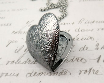 Large Silver Heart Locket Necklace Gunmetal Heart Pendant Heart Necklace Wedding Gift Gift for Bride
