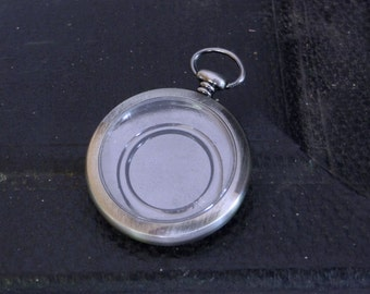 Pocketwatch Case, Antiqued Silver Watch Case, Empty Pocket Watch Body with Front