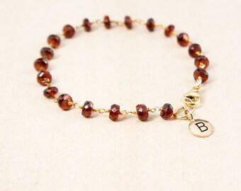 Red Garnet Bracelet – Initial Charm Bracelet