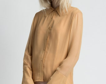 Vintage 90s Amber Chiffon Silk Long Sleeve Button Up Blouse   S