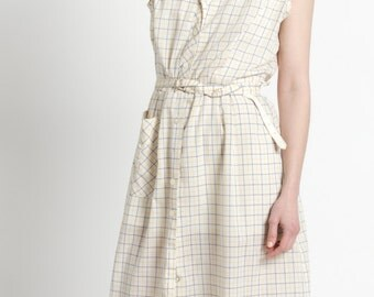 Vintage 50s White, Yellow, and Blue Plaid Cotton Straight Day Dress | M/L