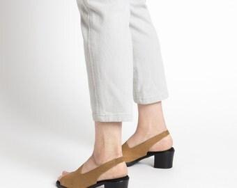 Vintage 90s Black and Tan Slingback Chunky Heel Sandals | 6.5