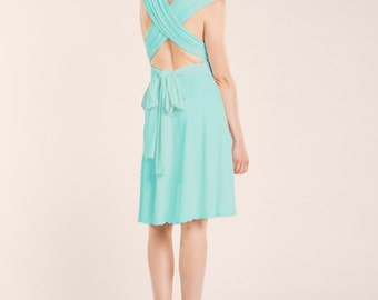 Aquamarine dress, light blue short dress, light turquoise dress, wrap dress, crossed back, bridesmaid dress, spring wedding, blue dress