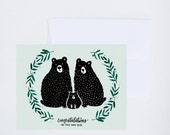 Congrats - Baby Bear - Floral Wreath - Mint Green Unisex Baby Card  - Painted & Hand Lettered Greetings - A-2