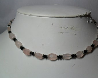 Like a Tuxedo - Rose Quartz and Black Crystal Necklace (06/26/2016)