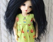 Full Black mohair wig for Littlefee / other YoSD sized / Unoa / Enyo doll
