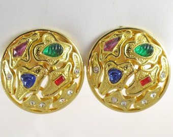 Vintage Large Gold Tone Multicolored Cabochon and Rhinestone Clip Earrings  (E-1-2)