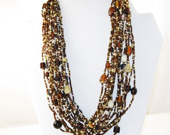 Vintage Brown and White Glass Seed Bead and Art Glass Multistrand Necklace (N-4-2)