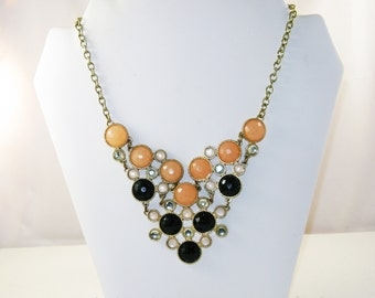 Vintage Orange, Black and Opaque Faceted Faux Rhinestone Bib Necklace (N-4-2)