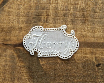 Harry vintage embroidered lace name personalize alphabet letter initial labels aundry washing personalise handmade gift ideas by Yebisu
