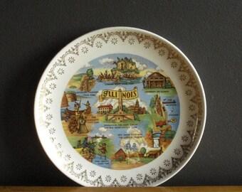 Vintage Illinois Souvenir Plate - Gold Rimmed State Plate - Illinois Love