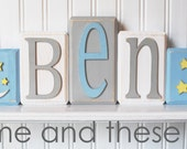 Wood letter name block-Price is per block-Custom to your style-Boy baby blue yellow white moon and stars