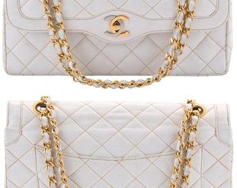 "CHANEL Paris 10.5"" inch White Quilted Lambskin Leather Double Flap Handbag Shoulder Bag"