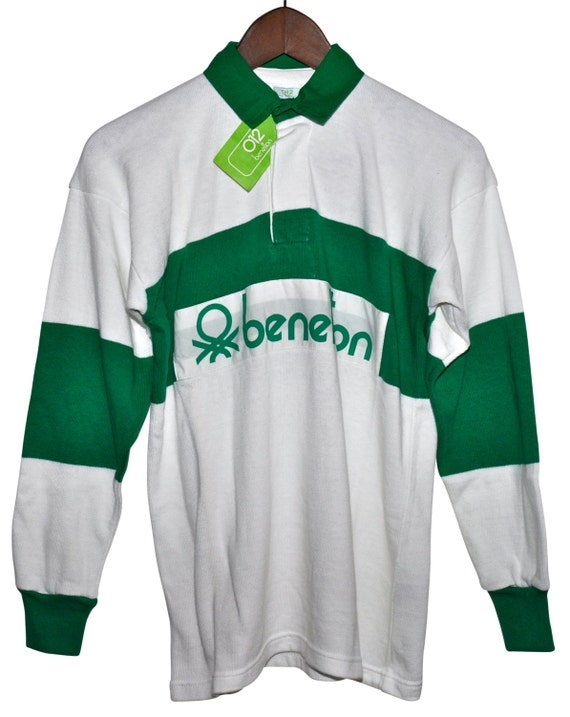 deadstock vintage 80s benetton rugby shirt green white
