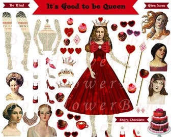 Handmade Digital Art Paper Doll 3 Collage Sheets Queen Chocolate Backgrounds Printable Altered Art Journal Scrapbooking Cards Crafts