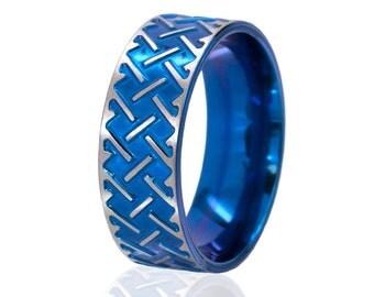 New Blue Titanium Celtic Ring, Blue Titanium Rings, Carved Celtic Rings,  Unique Celtic Jewelry: 8F-M-C72-Blue