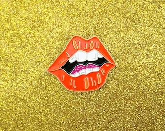 Lips Lapel Pin - Mouth Teeth Illustration Enamel Pin - Red Lips Purple Tongue White Teeth Gold Finsih