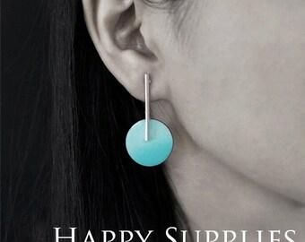 Enamel Handmade Earrings - Modern Earrings - Long Dangle Round Earrings - Modern Jewelry (EA06)