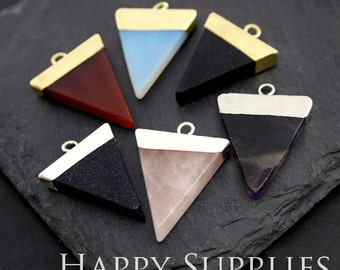 2pcs Golden Silver Brass Triangle Gemstone Pendants for Necklace Making / Gemstone Charms Wholesale 36x26x4mm (GM134)