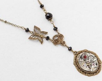 Steampunk Necklace Vintage Silver Watch Movement with Gold Filigree Butterfly Charm, Black Crystal Beads & Red Ruby Stone Jewelry Gift 2826