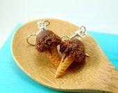 Ice Cream Earrings // Chocolate Ice Cream // Food Jewelry // MADE TO ORDER Miniature Food Earrings