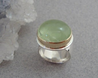 RESERVED - Large Green Beryl Ring in 18k Gold and Sterling Silver, Gemstone Statement Ring