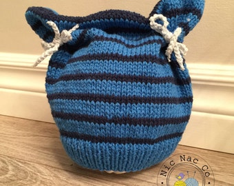 Bonnet of blue striped spring, cotton, infant (6/12 months)