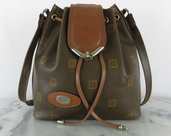 Vintage TEXIER Bucket Bag Leather Monogram Vinyl Made in France Medium Shoulder Bag